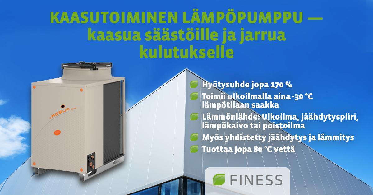 Kaasutoiminen Lämpöpumppu Kaasua Säästöille Jarrua Kulutukselle Finess Energy Oy
